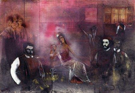 Olja Ivanjicki, Njegos u Pompeji, 1997, kombinovana tehnika, 70 x 100 cm